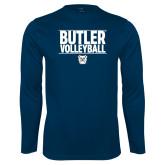 Performance Navy Longsleeve Shirt---Stacked Block Volleyball