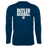 Performance Navy Longsleeve Shirt---Stacked Block Baseball