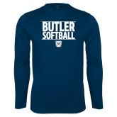Performance Navy Longsleeve Shirt---Stacked Block Softball