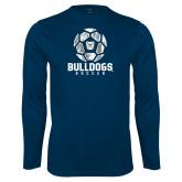 Performance Navy Longsleeve Shirt---Soccer Ball Design
