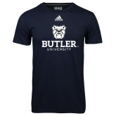 Adidas Climalite Navy Ultimate Performance Tee-Butler University Stacked Bulldog Head