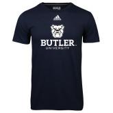 Adidas Climalite Navy Ultimate Performance Tee-Butler University Stacked Bulldog Head