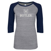 ENZA Ladies Athletic Heather/Navy Vintage Triblend Baseball Tee-Butler Stacked w/Bulldog Head