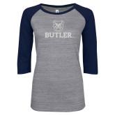 ENZA Ladies Athletic Heather/Navy Vintage Triblend Baseball Tee-Butler Stacked w/Bulldog Head