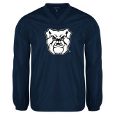 V Neck Navy Raglan Windshirt-Bulldog Head