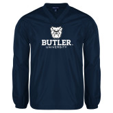 V Neck Navy Raglan Windshirt-Butler University Stacked Bulldog Head