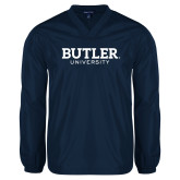 V Neck Navy Raglan Windshirt-Butler University