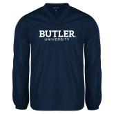 V Neck Navy Raglan Windshirt-Butler University