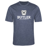 Performance Navy Heather Contender Tee-Butler University Stacked Bulldog Head
