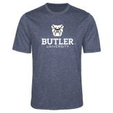 Performance Navy Heather Contender Tee-Butler University Stacked Bulldog Head