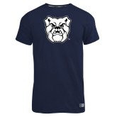 Russell Navy Essential T Shirt-Bulldog Head