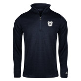 Russell Navy Heather 1/4 Zip-Bulldog Head