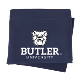 Navy Sweatshirt Blanket-Butler University Stacked Bulldog Head