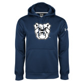 Under Armour Navy Performance Sweats Team Hoodie-Bulldog Head