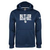 Under Armour Navy Performance Sweats Team Hoodie---Stacked Block Basketball