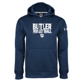 Under Armour Navy Performance Sweats Team Hoodie---Stacked Block Volleyball