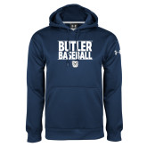 Under Armour Navy Performance Sweats Team Hoodie---Stacked Block Baseball