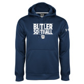 Under Armour Navy Performance Sweats Team Hoodie---Stacked Block Softball