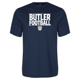 Performance Navy Tee---Stacked Block Football