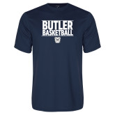 Performance Navy Tee---Stacked Block Basketball