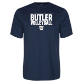 Syntrel Performance Navy Tee---Stacked Block Volleyball