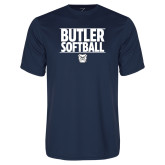 Performance Navy Tee---Stacked Block Softball