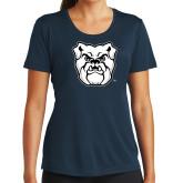 Ladies Syntrel Performance Navy Tee-Bulldog Head