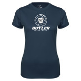 Ladies Syntrel Performance Navy Tee---Volleyball Ball Design