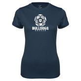Ladies Syntrel Performance Navy Tee---Soccer Ball Design