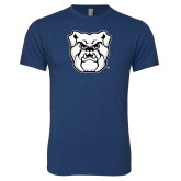 Next Level Vintage Navy Tri Blend Crew-Bulldog Head