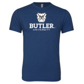 Next Level Vintage Navy Tri Blend Crew-Butler University Stacked Bulldog Head
