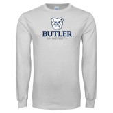 White Long Sleeve T Shirt-Butler University Stacked Bulldog Head