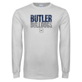 White Long Sleeve T Shirt-Butler Bulldogs Stacked Block Texture