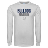 White Long Sleeve T Shirt-Bulldog Nation