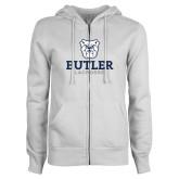 ENZA Ladies White Fleece Full Zip Hoodie--Lacrosse