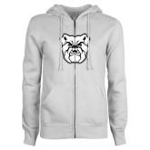 ENZA Ladies White Fleece Full Zip Hoodie-Bulldog Head