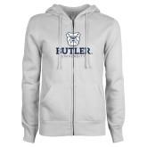 ENZA Ladies White Fleece Full Zip Hoodie-Butler University Stacked Bulldog Head