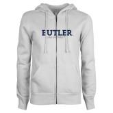 ENZA Ladies White Fleece Full Zip Hoodie-Butler University
