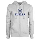 ENZA Ladies White Fleece Full Zip Hoodie-Butler Stacked w/Bulldog Head