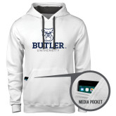 Contemporary Sofspun White Hoodie-Butler University Stacked Bulldog Head