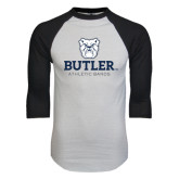 White/Black Raglan Baseball T-Shirt-Bulldog Head