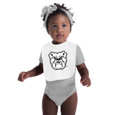 White Baby Bib-Bulldog Head