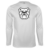 Performance White Longsleeve Shirt-Bulldog Head
