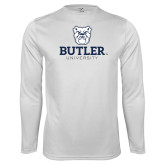 Syntrel Performance White Longsleeve Shirt-Butler University Stacked Bulldog Head
