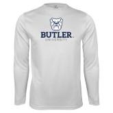 Performance White Longsleeve Shirt-Butler University Stacked Bulldog Head
