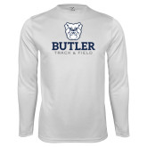Performance White Longsleeve Shirt--Track and Field