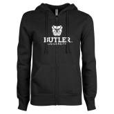 ENZA Ladies Black Fleece Full Zip Hoodie-Butler University Stacked Bulldog Head