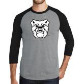 Grey/Black Tri Blend Baseball Raglan-Bulldog Head