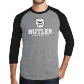 Grey/Black Tri Blend Baseball Raglan-Butler University Stacked Bulldog Head