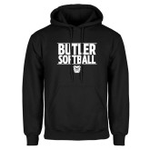 Black Fleece Hoodie---Stacked Block Softball